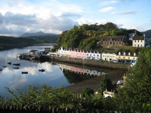 boats, houses, Portree Pier, Isle of Skye